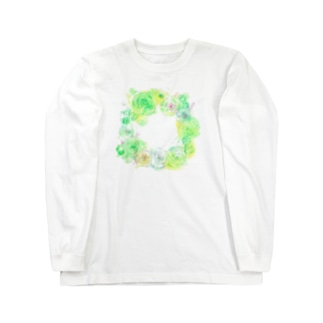 葉車-ラナンキュラスのリース- Long sleeve T-shirts