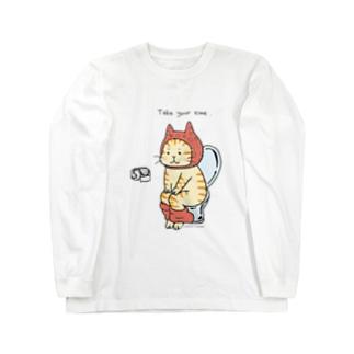トイレねこ・オレンジ Long sleeve T-shirts
