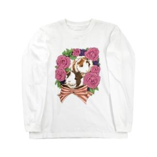 イングリッシュローズとアビシニアンモルモット Long sleeve T-shirts