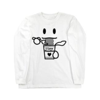 ラーメン大好き I Love Noodles(黒) Long sleeve T-shirts