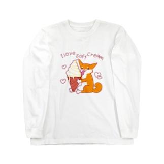 ソフトクリームと柴犬さん(赤柴) Long sleeve T-shirts