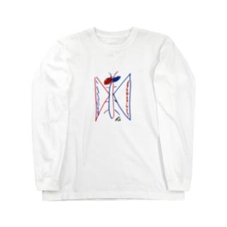 落書きバタフライ Long sleeve T-shirts