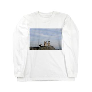 石ころパンダ Long sleeve T-shirts