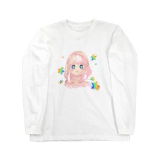 ピンクなレインボーな子 Long sleeve T-shirts