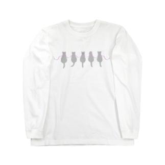 ロシアンブルーとリボン Long sleeve T-shirts