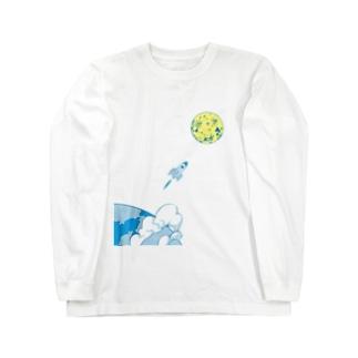 宇宙 ロケット 月 トップス Long sleeve T-shirts