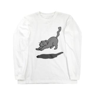 背伸び猫 Long sleeve T-shirts