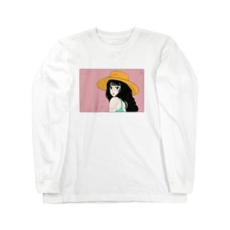 麦わら帽子のイケてる彼女 Long sleeve T-shirts