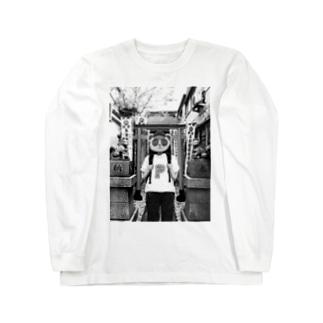 神社タヌキ Long sleeve T-shirts