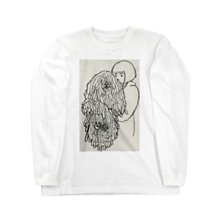 かしこいプーリー犬抱っこしてる飼い主(鉛筆画)白黒 Long sleeve T-shirts