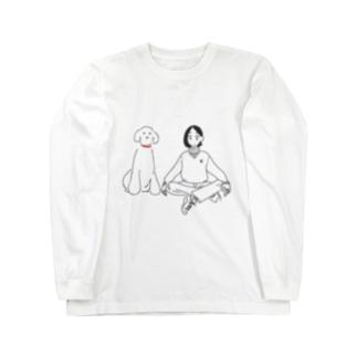 シンプルな犬派の人 Long sleeve T-shirts