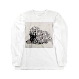 かしこいプーリー犬。ぷりぷり鉛筆画 Long sleeve T-shirts