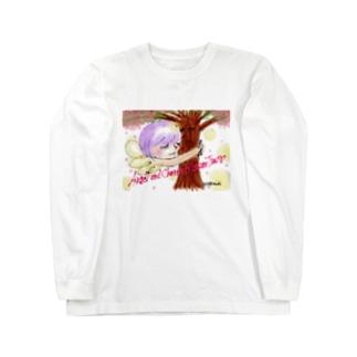 Ang22 エンジェルと桜の木 Long sleeve T-shirts