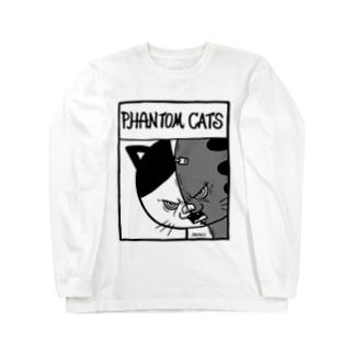 猫又スプリットフィアーフェイス Long sleeve T-shirts