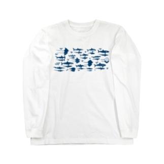 サメとエイと影 Long sleeve T-shirts