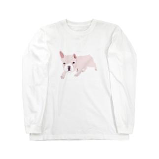 フレンチブルデザインTシャツ「お外でやや警戒心あり」 Long sleeve T-shirts