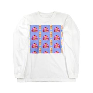 きょんしーちゃん(おふだつき)総柄 Long sleeve T-shirts