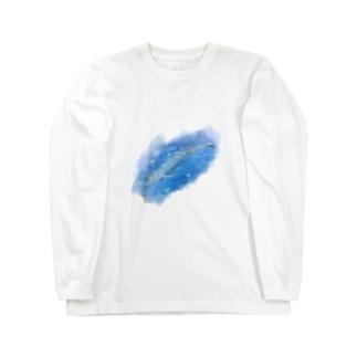 いきものイラスト(シロナガスクジラ) Long sleeve T-shirts