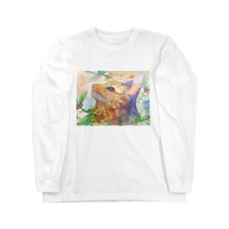 動物横顔シリーズ ヤマネコ Long sleeve T-shirts