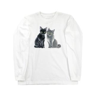 ステンシル 猫 duo Long sleeve T-shirts