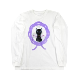 水引猫 黒華  Long sleeve T-shirts