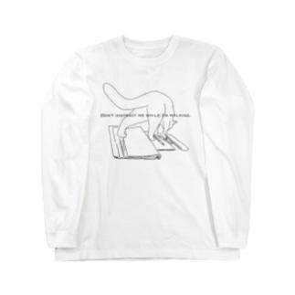 勉強の邪魔をする猫 Long sleeve T-shirts