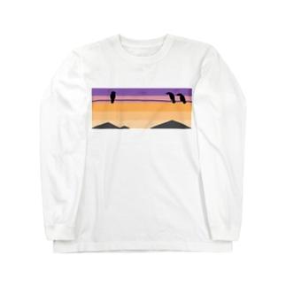 夕焼けにカラス Long sleeve T-shirts