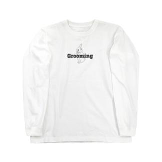 Grooming ウサギ ブラック  Long sleeve T-shirts
