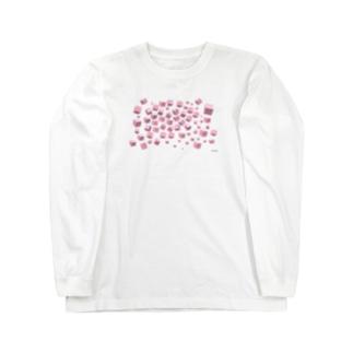 ピンクボックス散乱 Long sleeve T-shirts