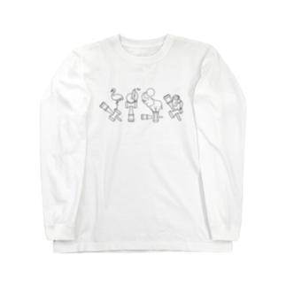 ふらぺんぞうさる(ものくろ)  Long sleeve T-shirts
