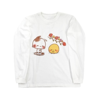 ほのぼのねこさんとぴよみさん Long sleeve T-shirts