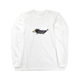 味のあるひょうきんなカラス Long sleeve T-shirts