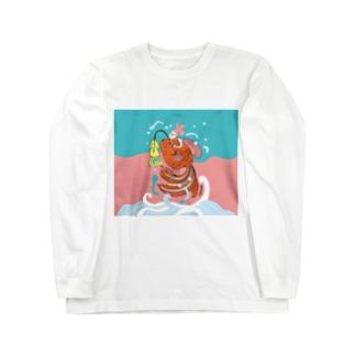 跳ね金魚(背景カラー) Long sleeve T-shirts