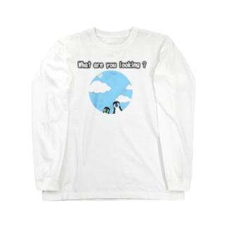 ペンギンちゃん、何見てるの? (前後2面プリント)  Long sleeve T-shirts