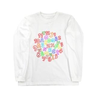 カラフルな数字とアルファベット Long sleeve T-shirts