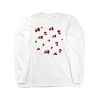 ハリネズミつんさん雨のお出かけ Long sleeve T-shirts