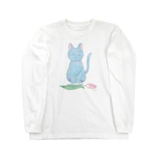ねことチューリップ Long sleeve T-shirts
