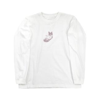 仰向けのボストンテリア (ピンク) Long sleeve T-shirts