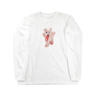 吐血くま Long sleeve T-shirts