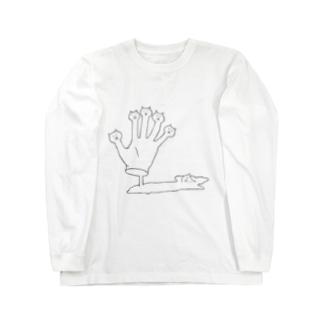 くびネッコ(ハンド)改 Long sleeve T-shirts