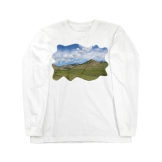 雄大なモンゴルの景色シャツ Long sleeve T-shirts