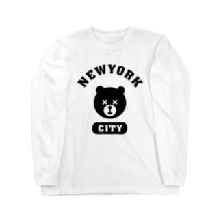 NYC BEAR ニューヨークシティベアー 熊 カレッジロゴ Long sleeve T-shirts