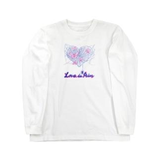 くろギャル 蜘蛛とクレオメの花 ロンT 白 Long sleeve T-shirts
