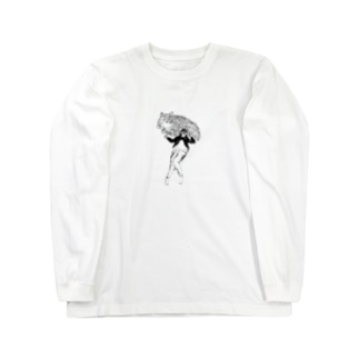 少し大きな猫と裸足の女の子 Long sleeve T-shirts