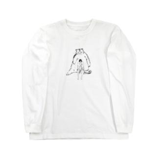 少し大きな猫と裸足の女の子2 Long sleeve T-shirts