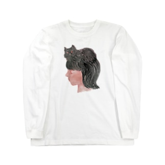 少し小さな猫と女の子の横顔 Long sleeve T-shirts
