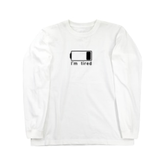 電池切れでお疲れ状態(BLACK_LOGO) Long sleeve T-shirts