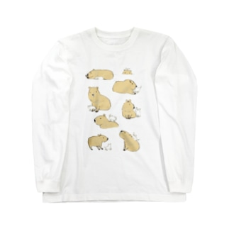 カピバラと猫 Long sleeve T-shirts