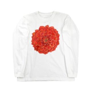 ダリアのコサージュ風 Long sleeve T-shirts