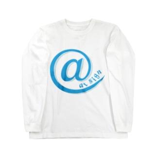 at sign blue Long sleeve T-shirts